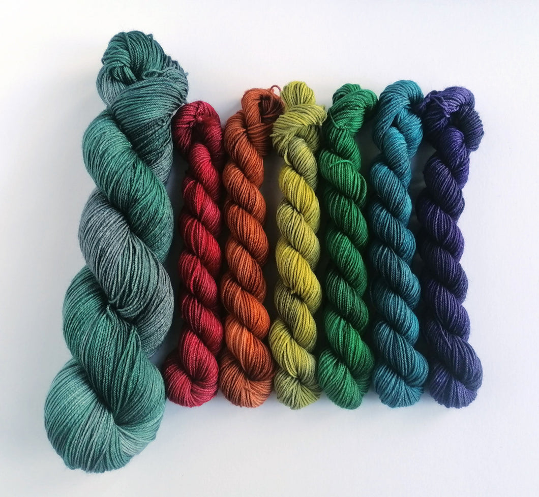 Hand dyed mini skeins. 6 x 20g and 100g - Dark Winter Rainbow deconstructed.