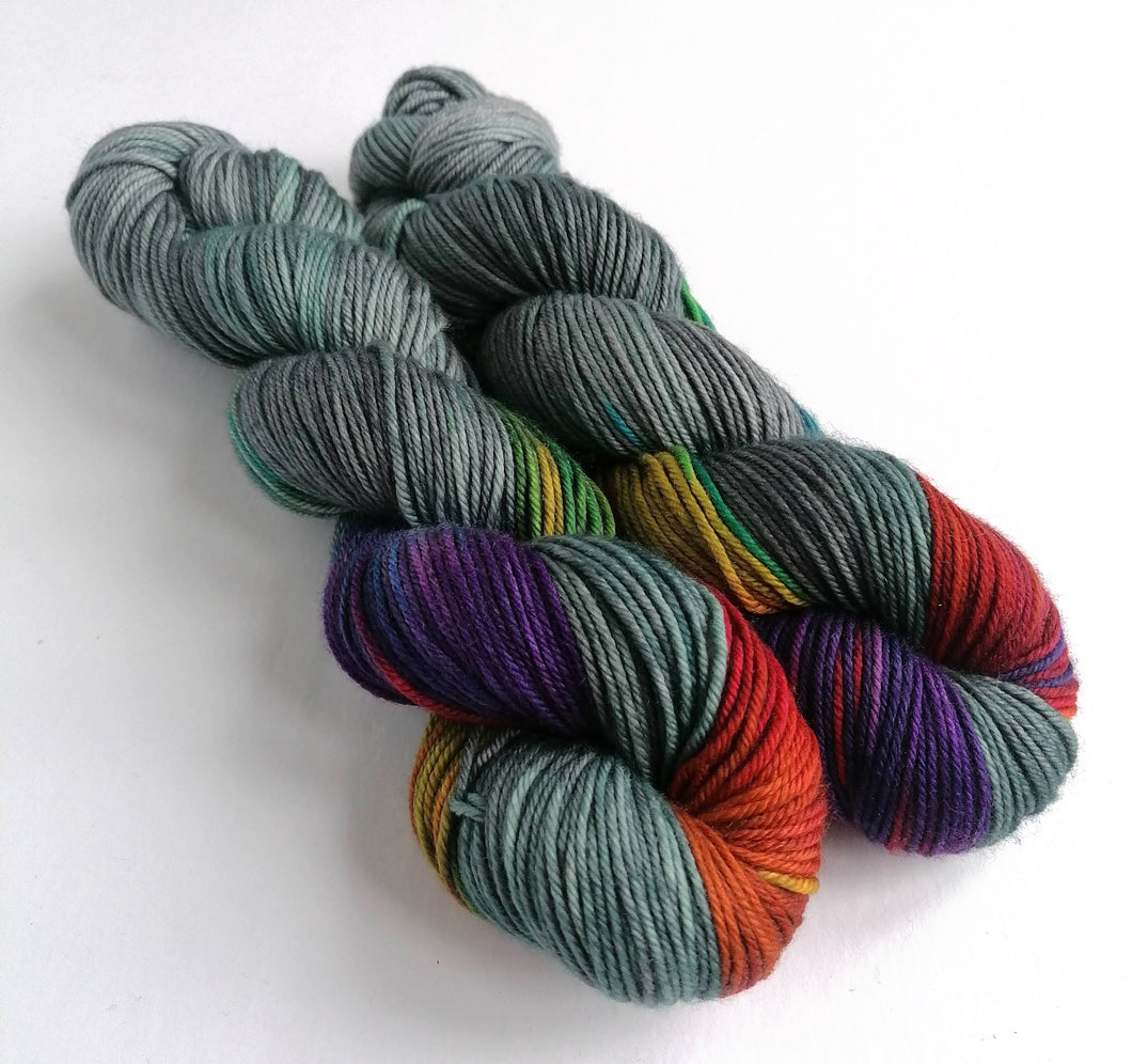 Dark Winter Rainbow on superwash merino/cashmere/nylon DK yarn.