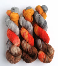 Load image into Gallery viewer, Embers Revised on a high twist Superwash Merino/Nylon sock yarn.