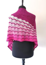 Load image into Gallery viewer, Hand knitted pink gradient shawl.