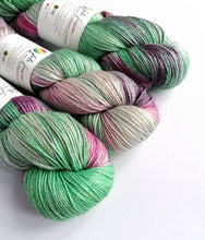 Load image into Gallery viewer, Greens and pinks on superwash BFL/silk 4ply/fingering weight.