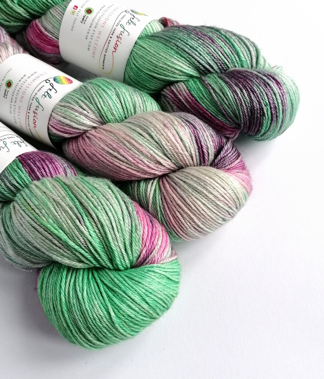 Greens and pinks on superwash BFL/silk 4ply/fingering weight.