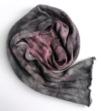 Load image into Gallery viewer, Hand dyed sock blank in a superwash merino/silk base in greys and pinks.
