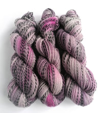 Load image into Gallery viewer, Greys and pinks, hand dyed on 100% Highland Wool 'Zebra' DK yarn (non superwash)