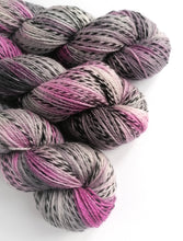 Load image into Gallery viewer, Greys and pinks, hand dyed on a Superwash Merino 'Zebra' 4ply yarn.