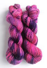 Load image into Gallery viewer, Hot pink with red and purple, hand dyed on a Superwash Merino 'Zebra' 4ply yarn.