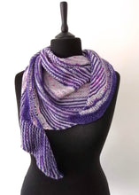 Load image into Gallery viewer, Hand knitted purple and grey shawl