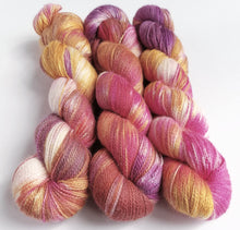 Load image into Gallery viewer, Ice and solar dyed baby alpaca/silk lace weight yarn.