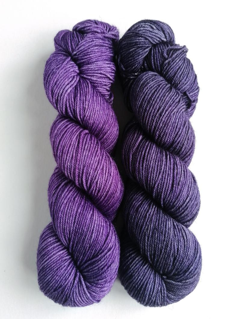 Purples on superwash BFL/Cashmere/Silk DK.