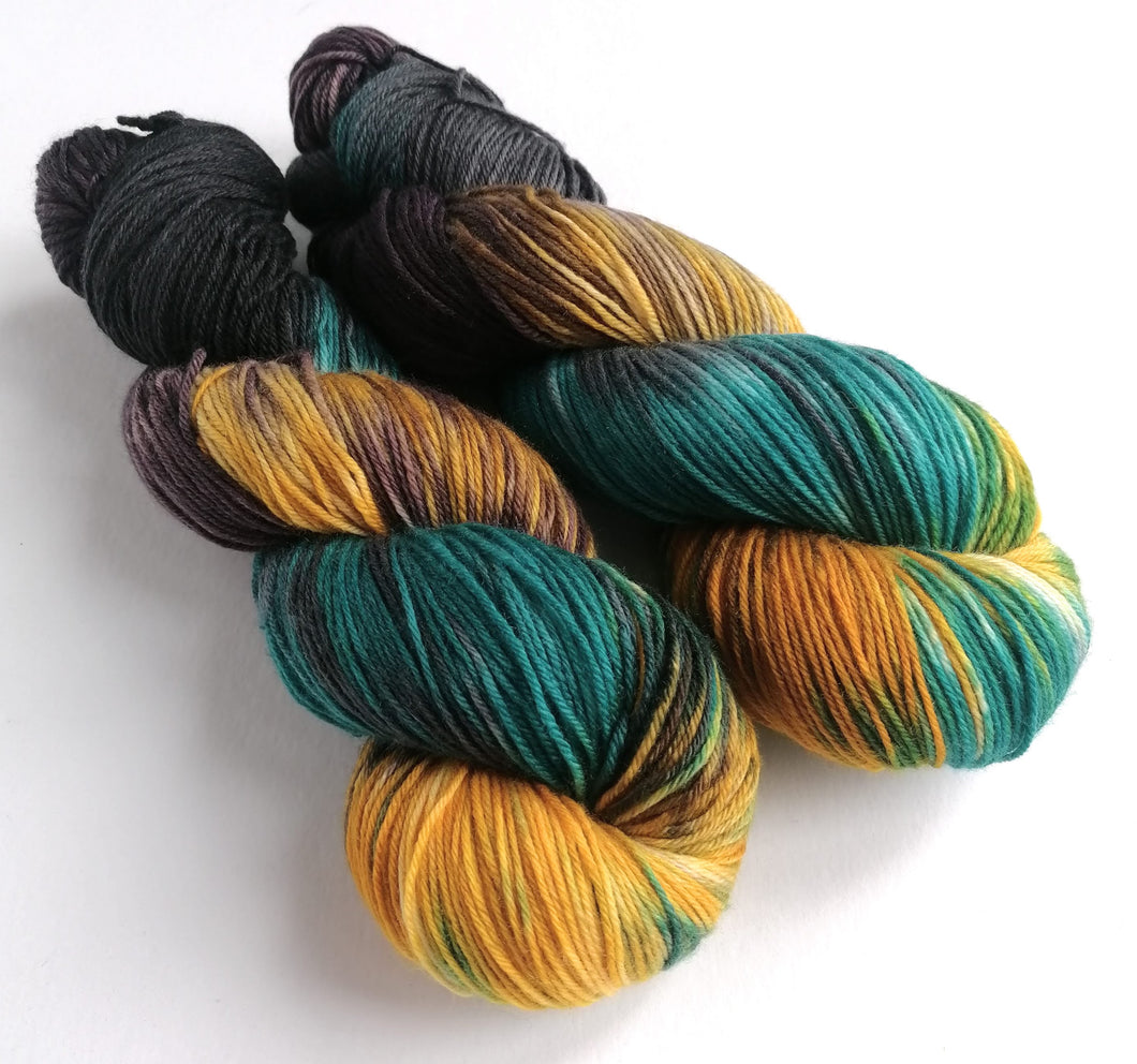 Mutiny on superwash merino/cashmere/nylon sock yarn.