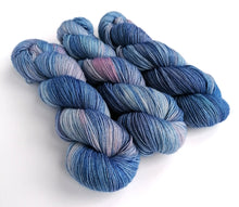 Load image into Gallery viewer, Not True Blue on a Superwash BFL/Nylon sock yarn.