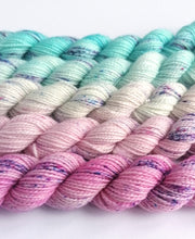Load image into Gallery viewer, Pink - blue mini skeins. 5 x 20g.  Sock, sparkle sock or DK yarn.