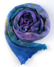 Load image into Gallery viewer, Hand dyed sock blank in a Superwash Merino/Nylon base in purple and blue.