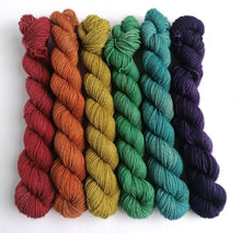 Load image into Gallery viewer, Hand dyed Rainbow mini skeins. 6 x 20g