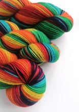 Load image into Gallery viewer, Rainbow, hand dyed on a British wool sock yarn.
