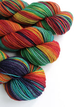 Load image into Gallery viewer, Rainbow on Superwash Merino/Yak/Nylon sock yarn.