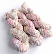 Load image into Gallery viewer, Snow Fairy on a Superwash BFL/Nylon sock yarn.