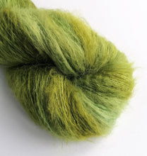 Load image into Gallery viewer, Hand dyed Suri Alpaca 4ply Cloud Fluff yarn.