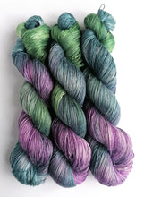 Load image into Gallery viewer, Teal, green and lilac, on bamboo/linen 4ply
