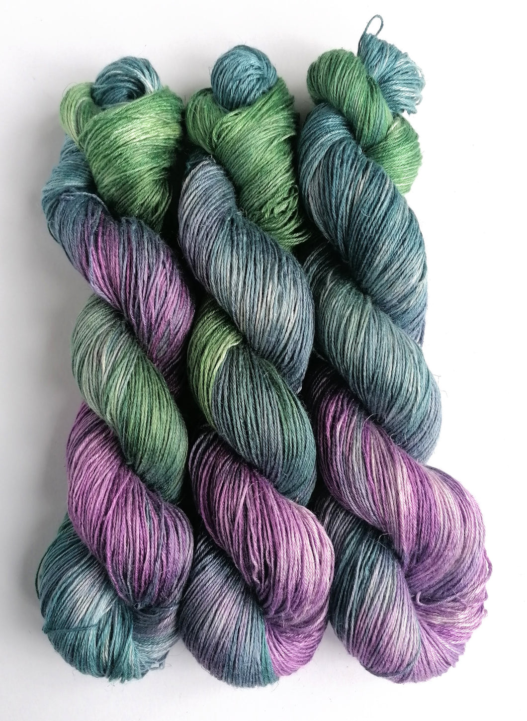 Teal, green and lilac, on bamboo/linen 4ply