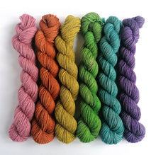 Load image into Gallery viewer, Unicorn Farts hand dyed rainbow mini skeins. 6 x 20g