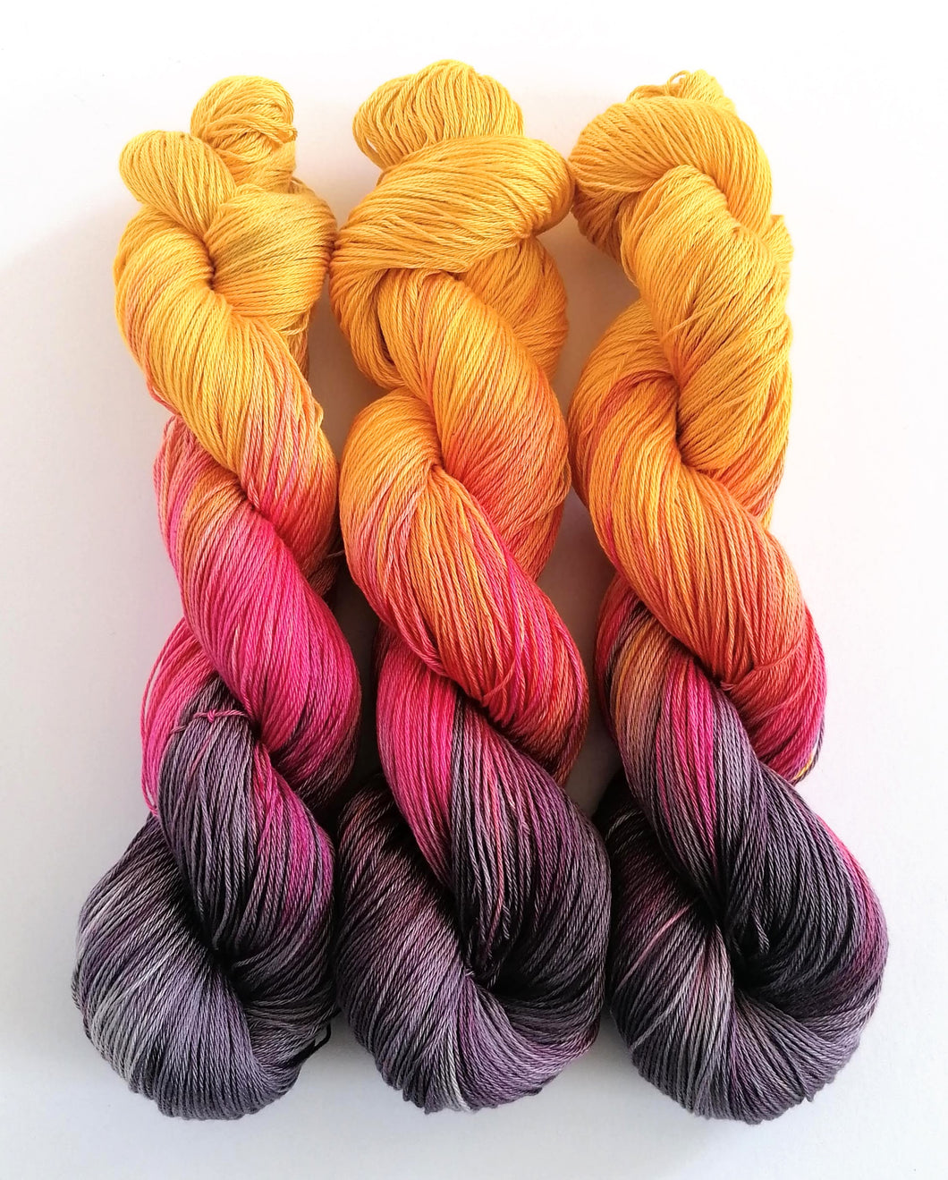 Gold, pink and deep purple, on Pima Cotton 4ply