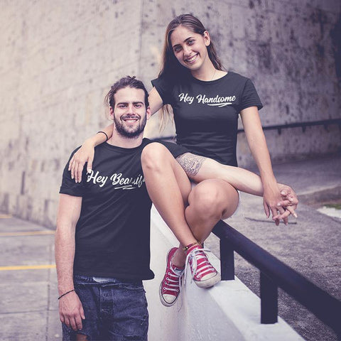 Hey Beautiful, Hey handsome! – Couple T-Shirts Online