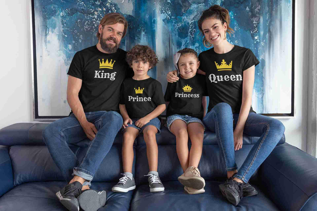 King,Queen Family Matching Cotton T-Shirts (Set Of 4) - Popstore