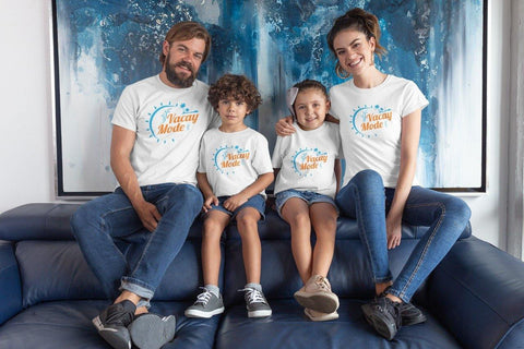 Vacay Mode Family Matching Cotton T-Shirts (Set Of 4)