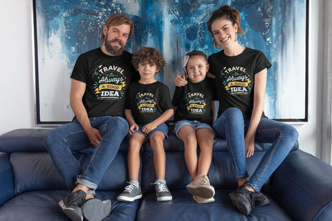 Travel Is Always A good Idea Family Matching Cotton T-Shirts (Set Of 4)