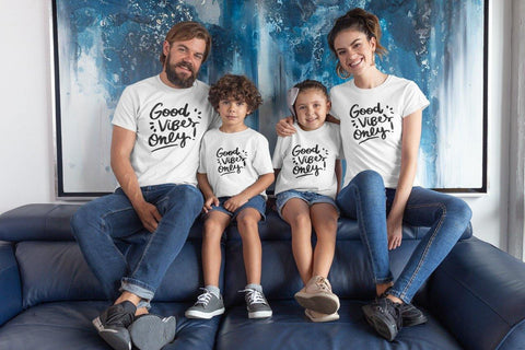 Good Vibes Only! Family Matching Cotton T-Shirts For Mom,Dad and Kids Online