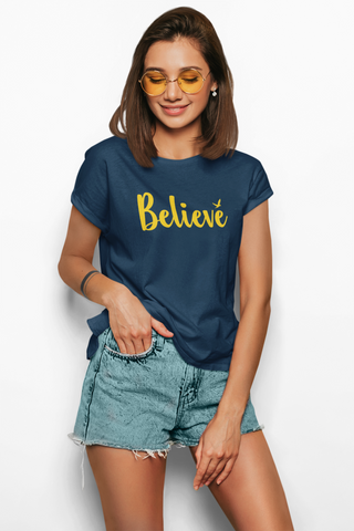 Printed Cotton Tshirts for women-Believe