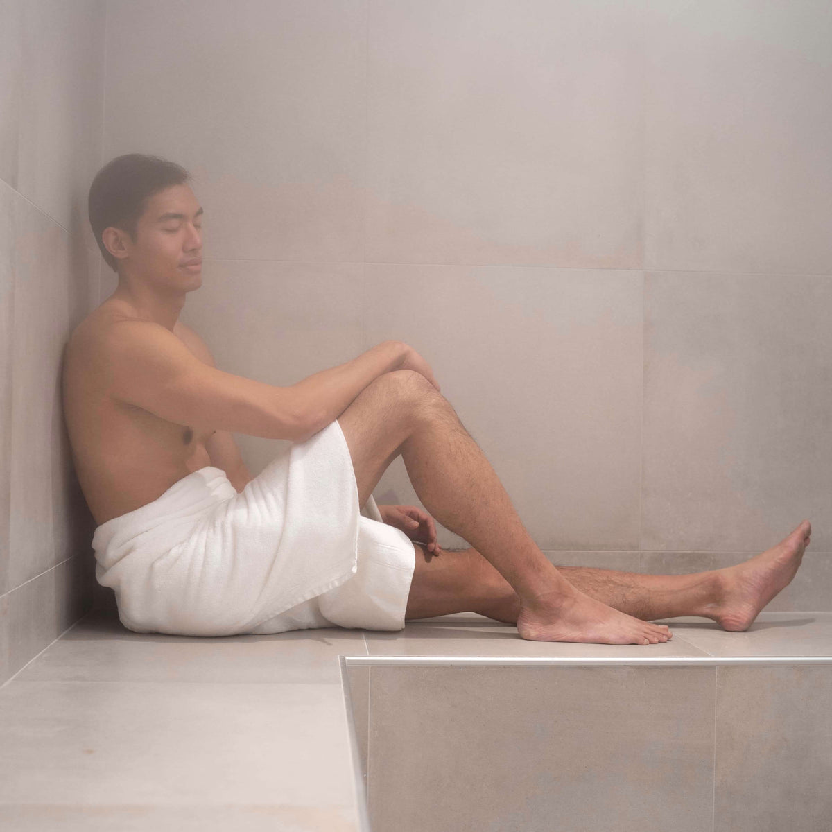Man in Steam Room