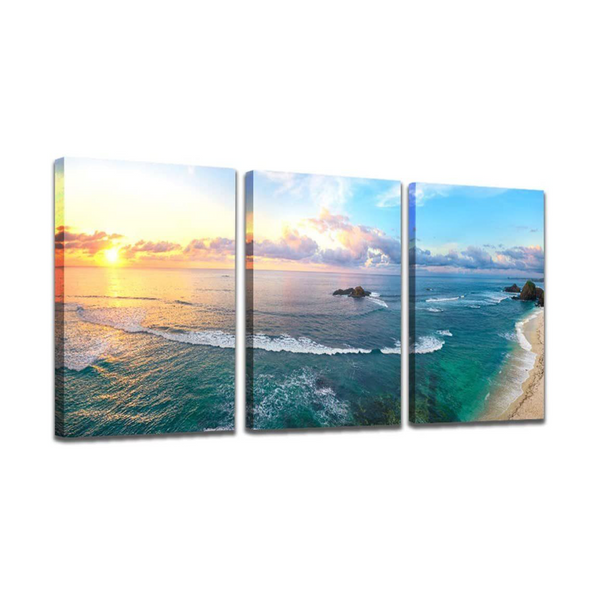 "The Scene ""Sunset Beach"" Canvas Triptych"