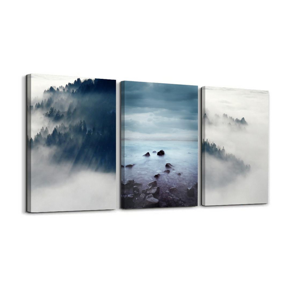 "The Scene ""Foggy Forest"" Canvas Triptych"