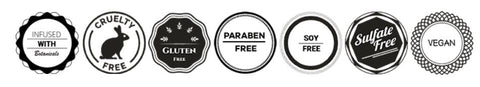 A series of approval stamps for the body frosting from various authority groups