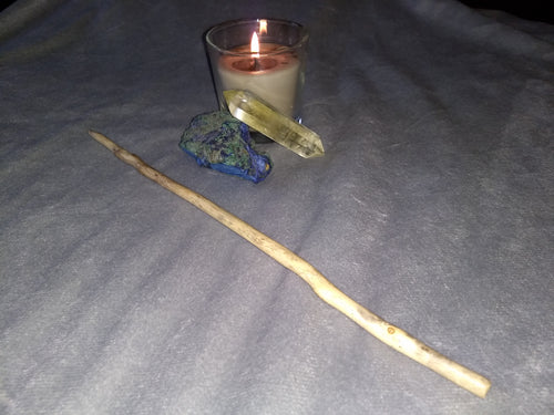 13 inch natural holly wand. (Crystal and candle not included.)