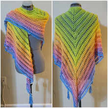 Load image into Gallery viewer, Crocheted shawl in a variegated pastel rainbow yarn. Triangle shape with tassels.