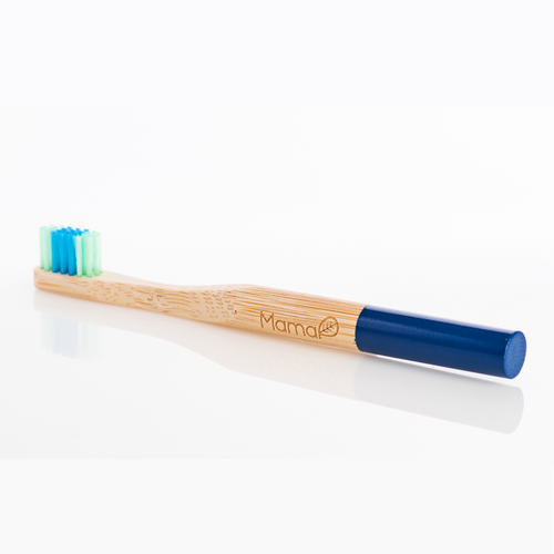 Bamboo toothbrush with two-toned blue bristles and a blue handle.