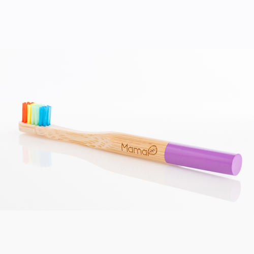 Bamboo toothbrush with rainbow bristles and a purple handle.
