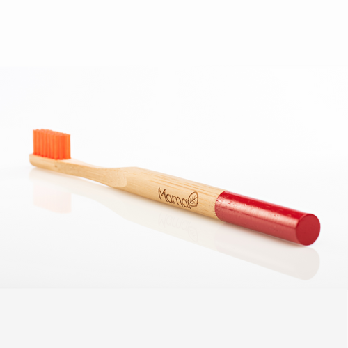 Bamboo toothbrush with orange bristles and a red handle.