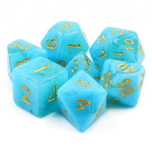 A tabletop dice set in an aquatic blue tone with gold numbers.
