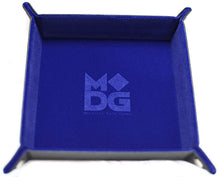 Load image into Gallery viewer, Blue square velvet dice tray.