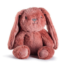Load image into Gallery viewer, A soft red clay colored bunny, it has black eyes and nose, with long soft ears.