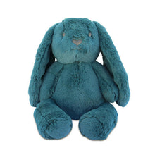 Load image into Gallery viewer, A soft dark teal colored bunny, it has black eyes and nose, with long soft ears.