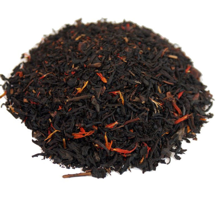 Loose leaf tea including: black teas, organic cacao nibs, flavoring, and safflower petals.
