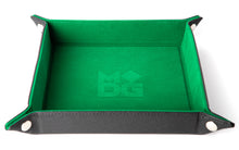 Load image into Gallery viewer, Green square velvet dice tray.
