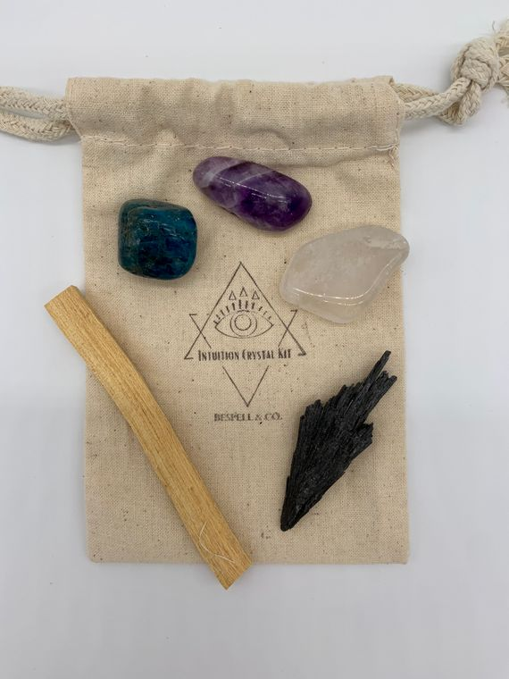 A cotton bag containing a black kyanite, a quartz crystal, an amethyst crystal, an apatite crystal, a palo santo stick, and a brass third-eye charm