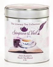 Load image into Gallery viewer, Reusable tin containing loose leaf tea including: Black teas, spearmint, lavender flowers and vanilla flavor. With an image of tea in a white teacup and matching saucer, with lavender decorations.