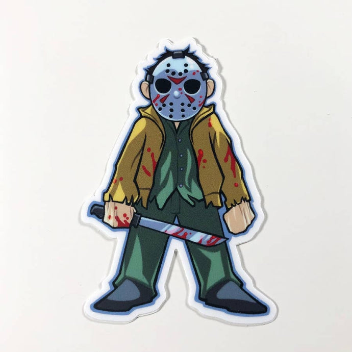 a caricature of a fullbody Jason Voorhees standing imposingly with a blood splattered machete